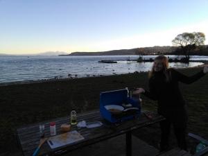 Abendessen am Lake Taupo