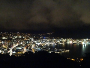 Blick auf Wellington bei Nacht