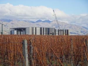 Die Winery hinter den Weinfeldern