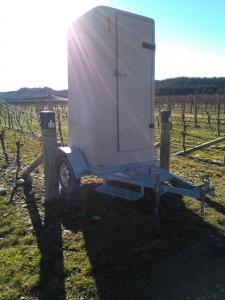 Eine mobile Toilette, die manchmal in der Nähe unseres Blocks stand